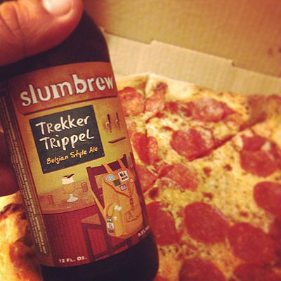 Slumbrew Trekker and Pizza