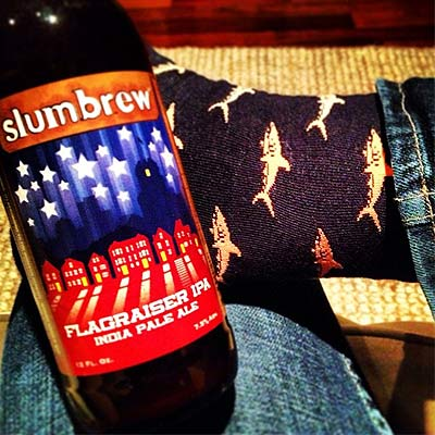 Slumbrew Flagraiser and Shark Socks