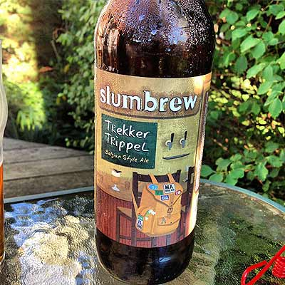 Slumbrew Trekker Trippel Sweating in Garden